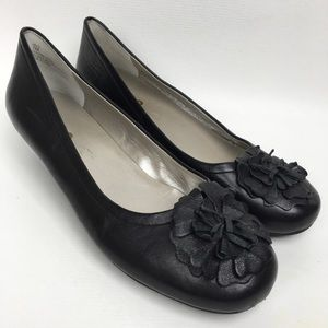 Me Too Low Wedge Black Leather Women's Shoes